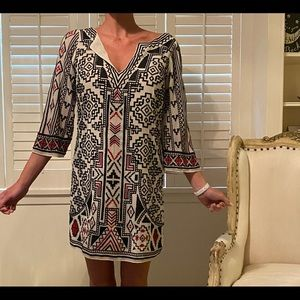 Alice + Olivia silk embroidered tunic dress